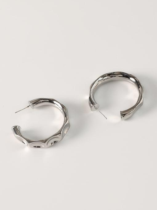 White K [trumpet 3.8cm] Brass Geometric Minimalist Hoop Earring